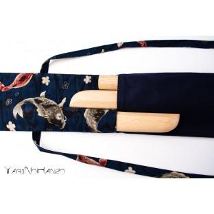 Sac bleu Aikido KOI | Buki Bukuro KOI | Sac pour Tanto, Bokken et Jo